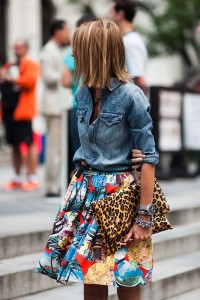 denim-shirt-and-printed-skirt