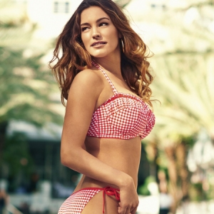 kelly-brook-new-look-swimwear-2014-red-gingham-check-bikini